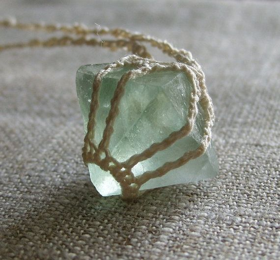 "Cool Idea... fluorite stone ""set"" inside a macrame/knit/crochet ""bezel"" w/ cord chain..."