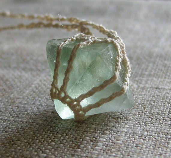 """Cool Idea... fluorite stone """"set"""" inside a macrame/knit/crochet """"bezel"""" w/ cord chain..."""
