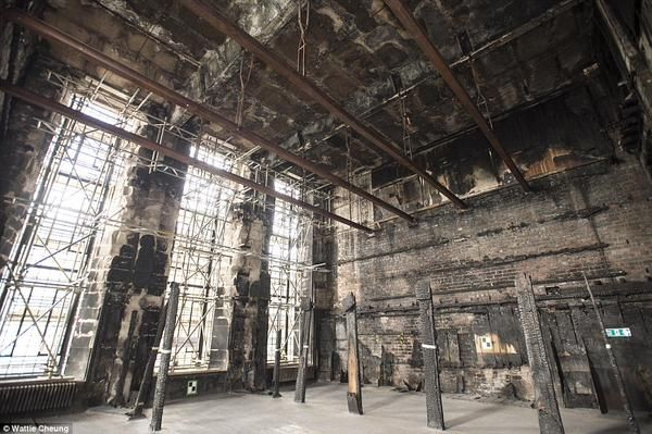 The empty shell remaining at the Glasgow School of Art's Mackintosh Library after last year's fire.