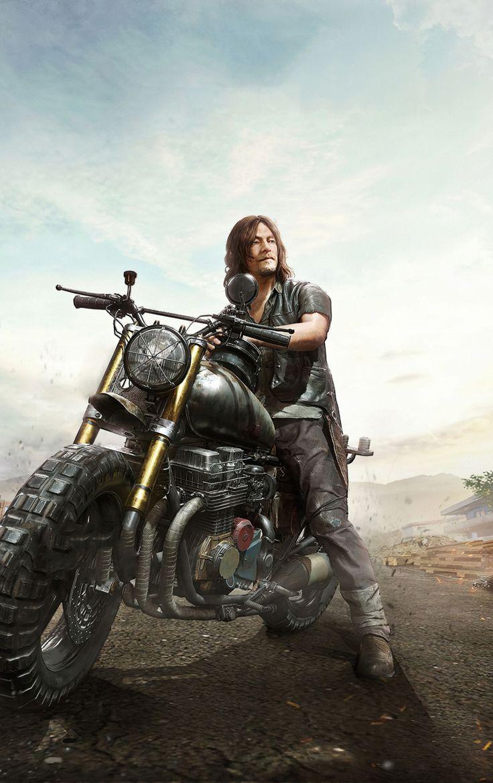 840×1336 Daryl Dixon, PUBG, Mobile game, The Walking Dead, artwork wallpaper