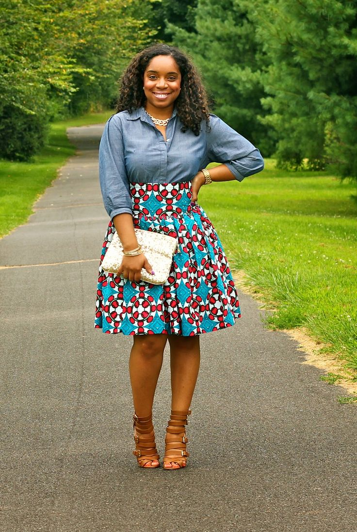 Image result for how to style denim with print skirt