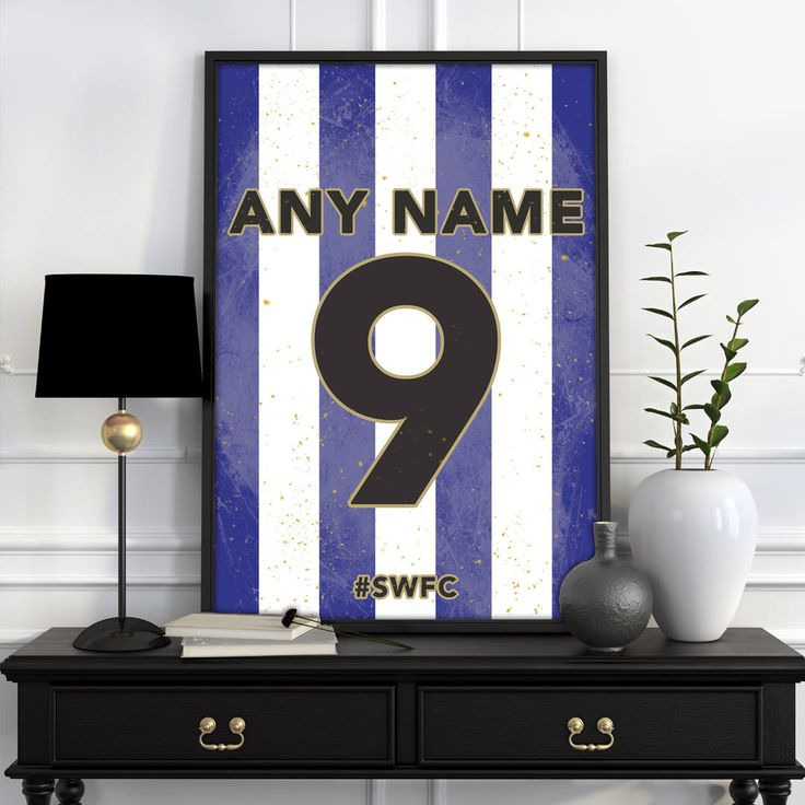 Sheffield Wednesday F.C. Home Shirt Print - Personalised Football Shirt Poster -  ANY Name & ANY Number A4 - A3 by fullsquadprints on Etsy https://www.etsy.com/uk/listing/587330037/sheffield-wednesday-fc-home-shirt-print