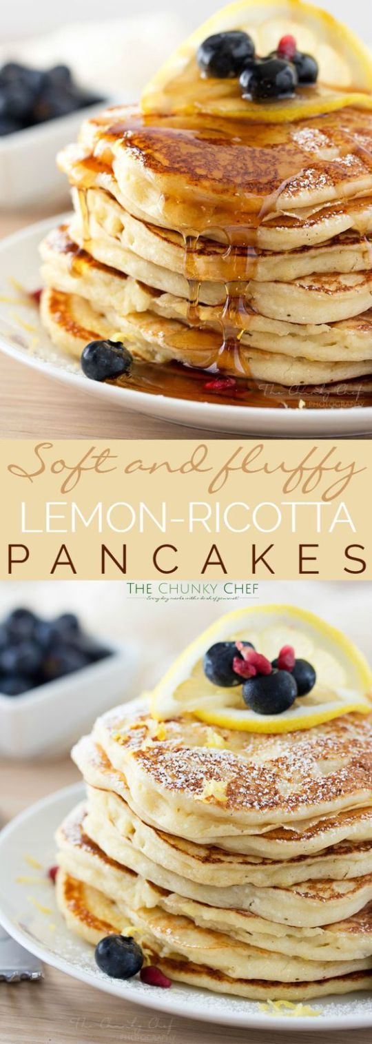Lemon Ricotta Pancakes Recipe via The Chunky Chef - Soft and fluffy ricotta pancakes infused with great lemon zest flavor... perfect for a special occasion breakfast, but easy enough to make every day!