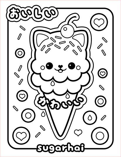 Free Ice Cream Cat Coloring Page Kawaii ThingsColoring BookColouringFree PrintableBalloonsStationery