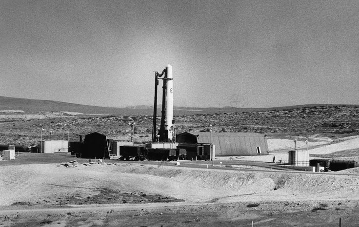 Feb. 23, 1960: A Thor IRBM missile sits on a launching pad operated by the Royal Air Force for training purposes at Vandenberg Air Force Base.