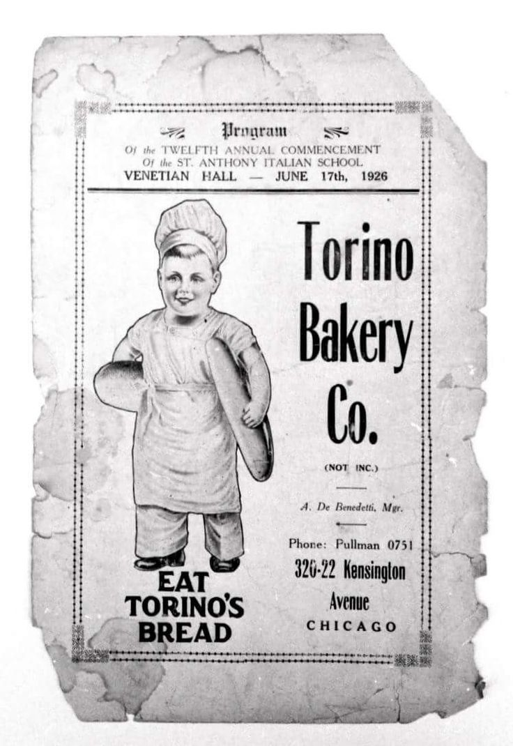 Ad for torino bakery roseland chicago book cover