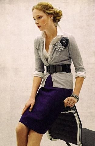 Purple pencil skirt outfit by Annick Gagnon :: fashion looks  ~I love this look :) ~