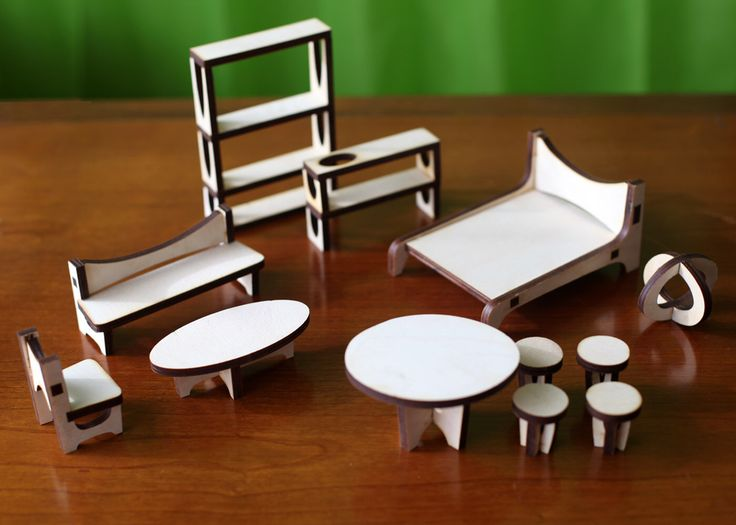 The ARC Dollhouse Furniture Set : Baltic Birch Plywood by 3StarStudioArts on Etsy https://www.etsy.com/listing/181222488/the-arc-dollhouse-furniture-set-baltic