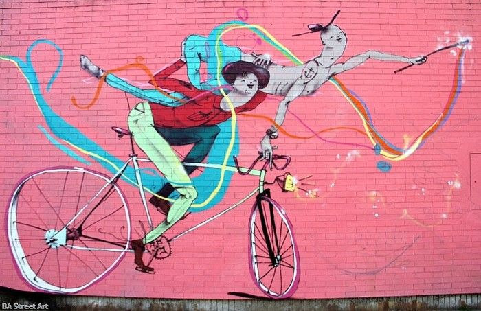 Better by bike: new mural by Mart in Almagro. Buenos Aires Street art murales buenosairesstreeetart.com