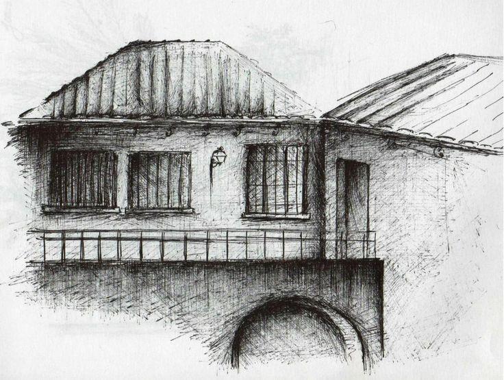 dibujo, blanco y negro, tinta, arco, casa