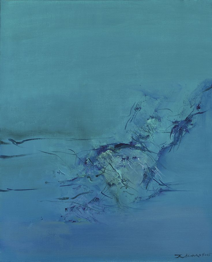 Zao Wou-Ki (Zhao Wuji) 1920-2013 VERT ET VIOLET (GREEN AND PURPLE) signed in Pinyin and Chinese and dated 2005; titled and dated Juin 2005 on the reverse, oil on canvas 61 by 50 cm   Sotheby's
