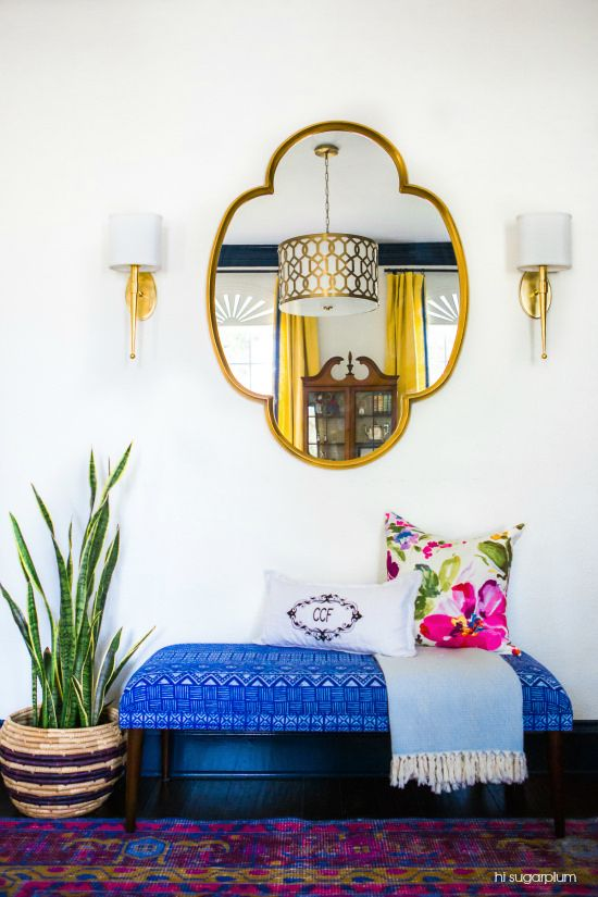 Colorful Entryway With A Moroccan Style Mirror, Bright Blue Bench, Pillows,  Sconces And · Colorful Living RoomsColorful ...