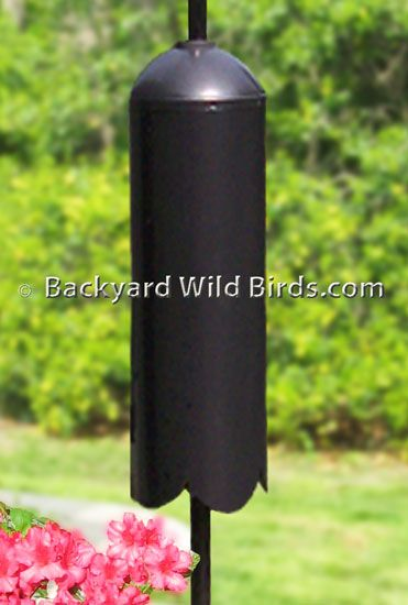 Squirrel and Raccoon baffle - Raccoon Baffle is a long 28 inch cylinder Raccoon Baffle for poles. This Raccoon Baffle is designed to raccoon and squirrel proof bird feeder poles with its no grip round cylinder and dome top. The baffle stops the raccoon, squirrel, and chipmunk from climbing up 1 inch diameter poles to the bird feeders. The Cylinder Raccoon baffle can be used on bird feeder poles 1/2 in. to 1 1/2 in. diameter.