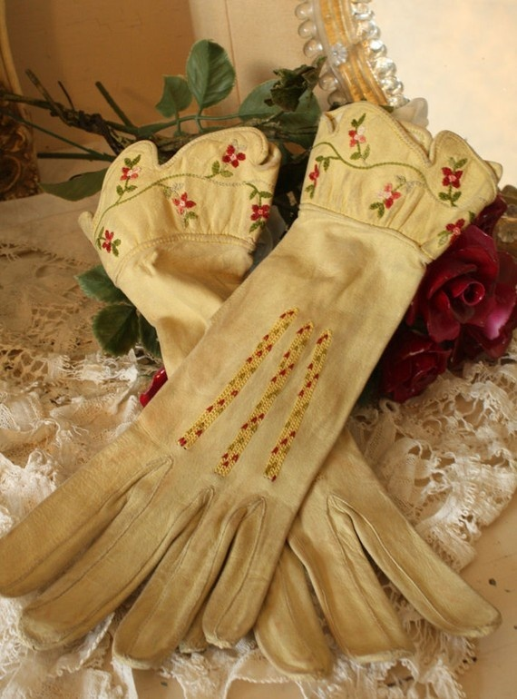 Antique Pair Leather Gardening Gloves Rare Embroidered