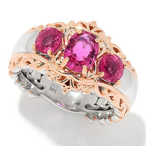 157-486 - Gems en Vogue 1.54ctw Rubellite Three-Stone Band Ring