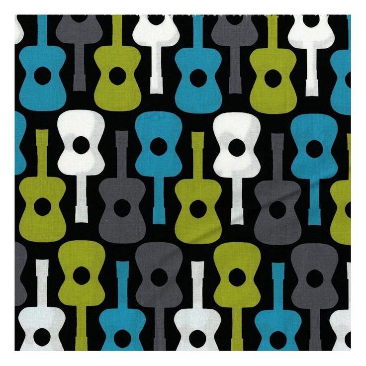 Tissu Michael Miller, Groovy guitars. Coton imprimé de guitars dans les tons bleus-verts-gris-blancs sur fond noir. 100% Coton Laize 110cm Lavage en machine à 30°C avec des couleurs similaires Pas de nettoyage à sec Ne pas javeliser Tremper avant la 1ère utilisation Vendu par tranchede 10 cm (min. 50cm). Ex : indiquez 5 pour 50cm, 8 pour 80 cm, 10 pour 1 m, etc...