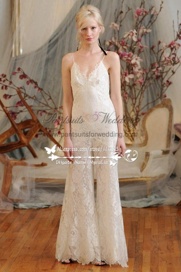 98571e1a8f6d Sexy charming Spaghetti bridal pantsuit Lace spring wedding jumpsuit dresses  BA-046