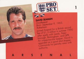 1990-91 Pro Set English League #1 David Seaman Back