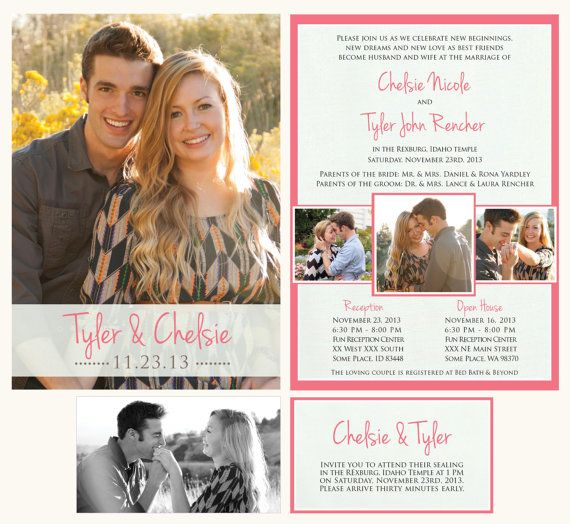 wedding announcement lds mormon wedding invitation temple wedding