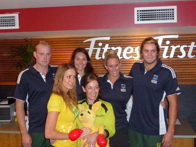 Meeting fans for 100 days to go  Water polo players and kayaker meet and greet fans at Fitness First in Sydney to celebrate 100 days to go until the London Olympic Games.