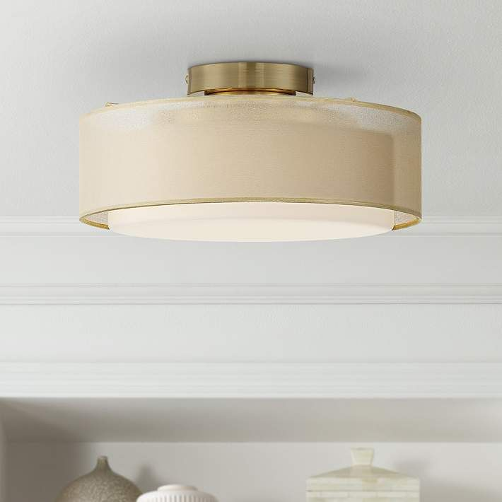 Gold Dual Shade 12 1 2 Wide Drum Ceiling Light 71n76 Lamps Plus Ceiling Lights Drum Ceiling Lights Modern Ceiling Light