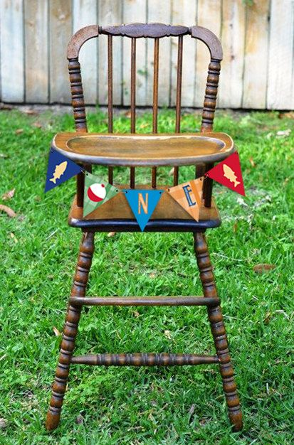 Gone Fishing Birthday High Chair Banner by PrettyPaperBoutique2  Fishing Birthday Theme One Banner