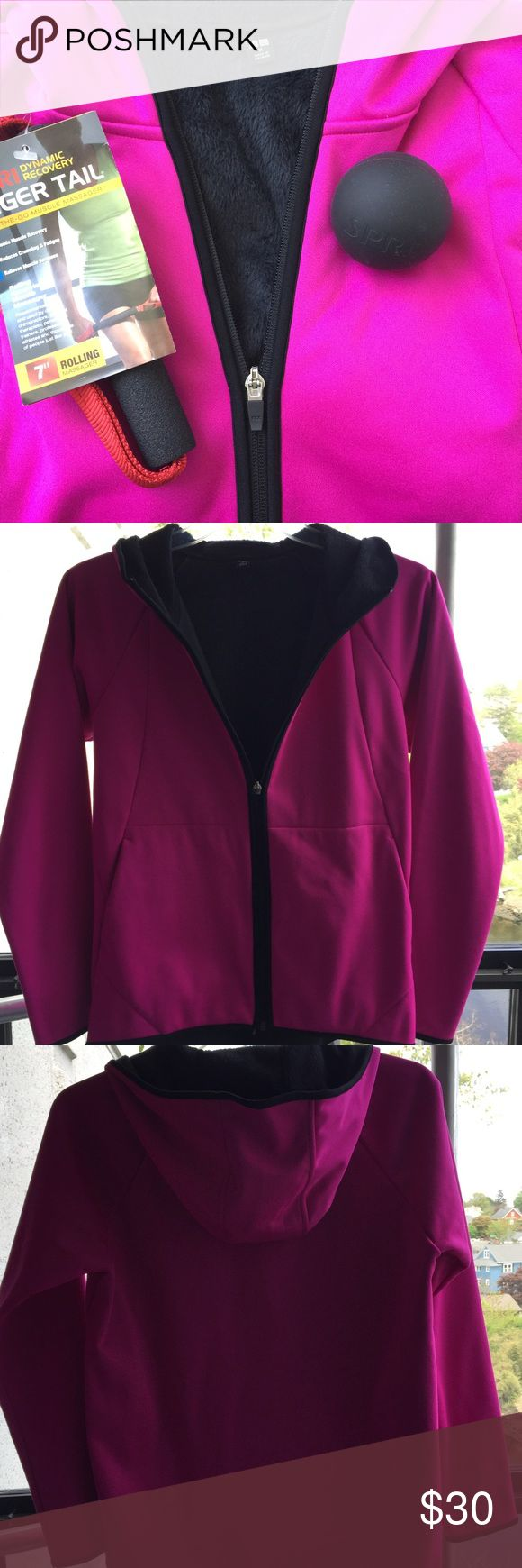 UNIQLO Pink Sporty Hoodie Jacket NWOT! Never worn! Hot pink outside (super sporty micro fiber) with warm fleece interior. Hood, waist and both wristbands are trimmed in black. Super soft! Again, another great accessory when you're running out the door in the early AM to the gym! Front zipper; 2 pockets. 100% polyester. Imported. Uniqlo Jackets & Coats