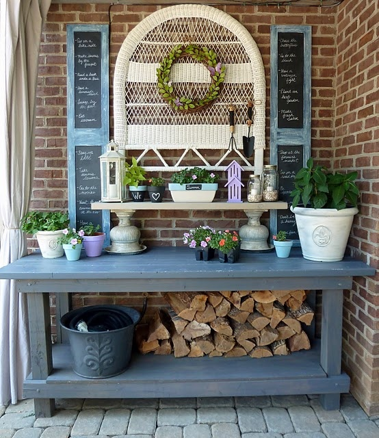 Stratford Console Table Cool potting bench.clever how she made a shelf from two urns and a ...