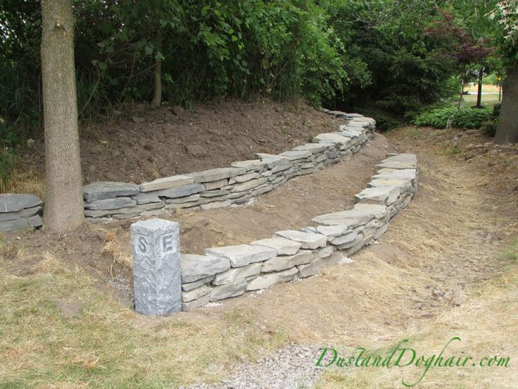 diy stacked stone retaining wall part 2 sloped garden on stone wall id=96722