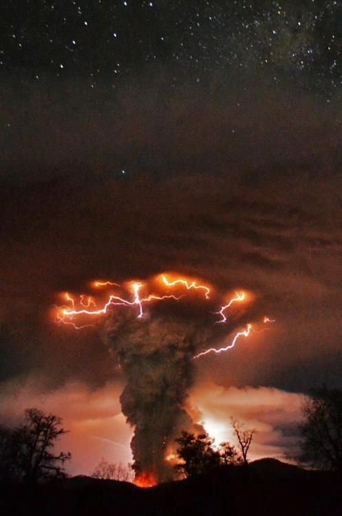 lightning over fumes of volcanic ash
