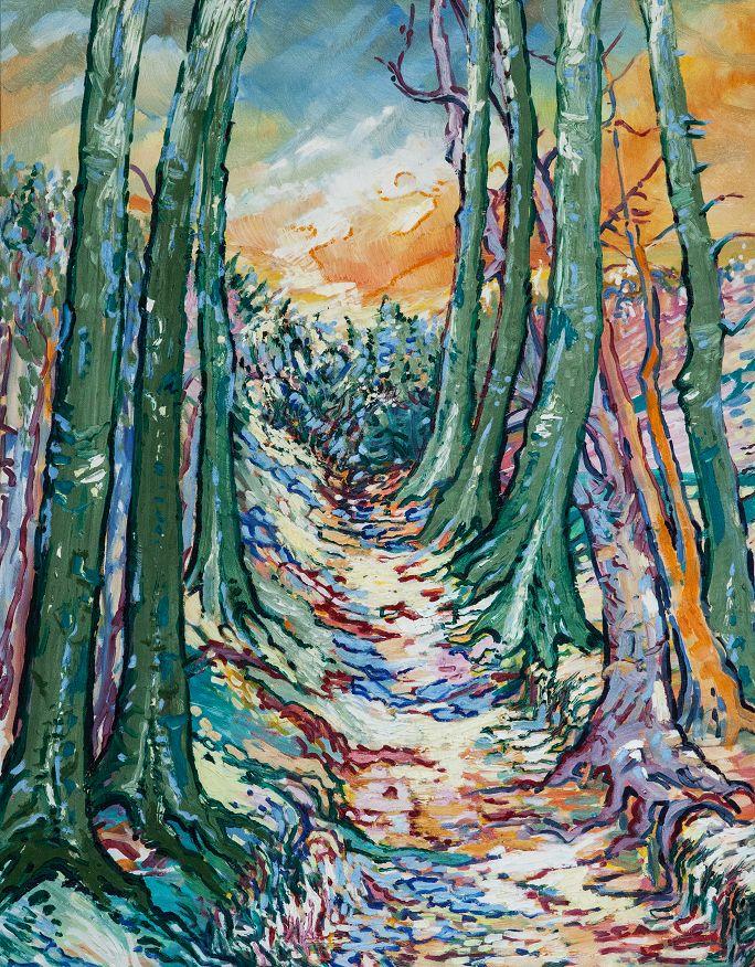 Zelené stromy, olej na plátne 90 x 70 cm, Pavel Huszár, Banská Bystrica, Slovakia