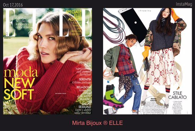 Mirta Bijoux in ELLE Novembre 2016 Best seller d'autunno :  non puo' mancare un accessorio by Mirta Bijoux®  Collane colorate della collezione Rock