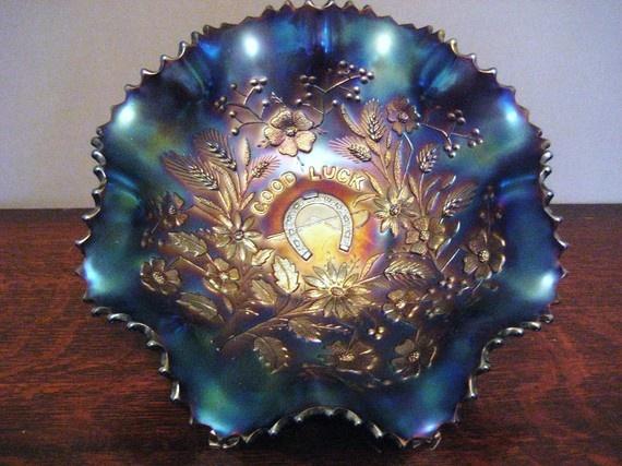 Northwood Carnival Glass Bowl - Good Luck
