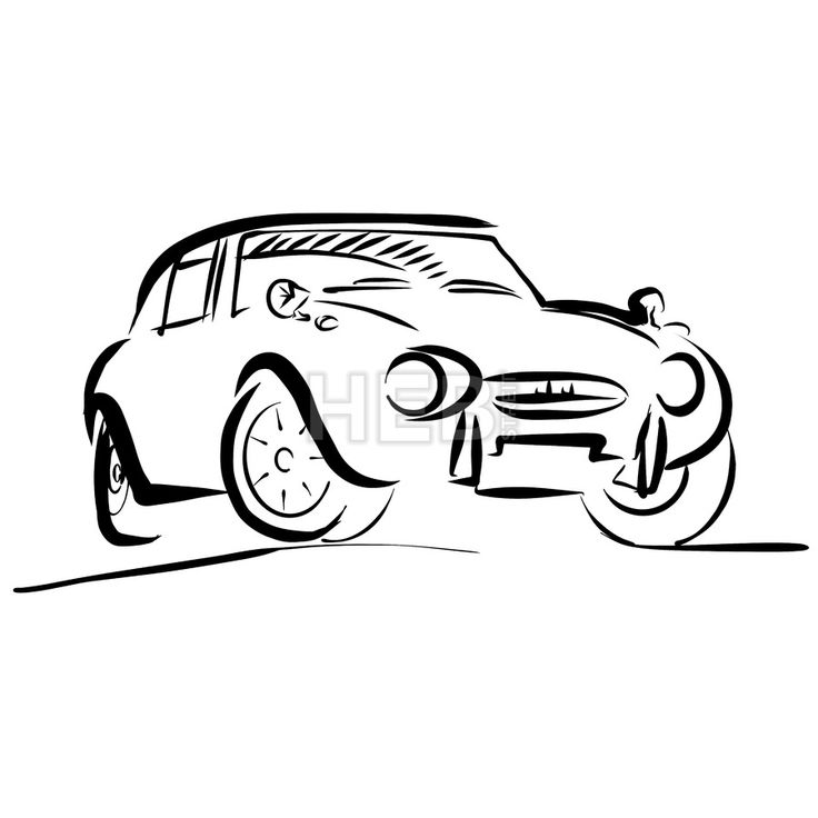 Old small sport Car Outline Sketch by Hebstreits #stockimage #design