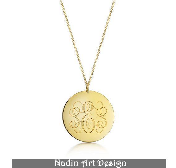 Gold Monogramm-Halskette / Anhänger mit Gravur von EngravedJewelry auf DaWanda.com