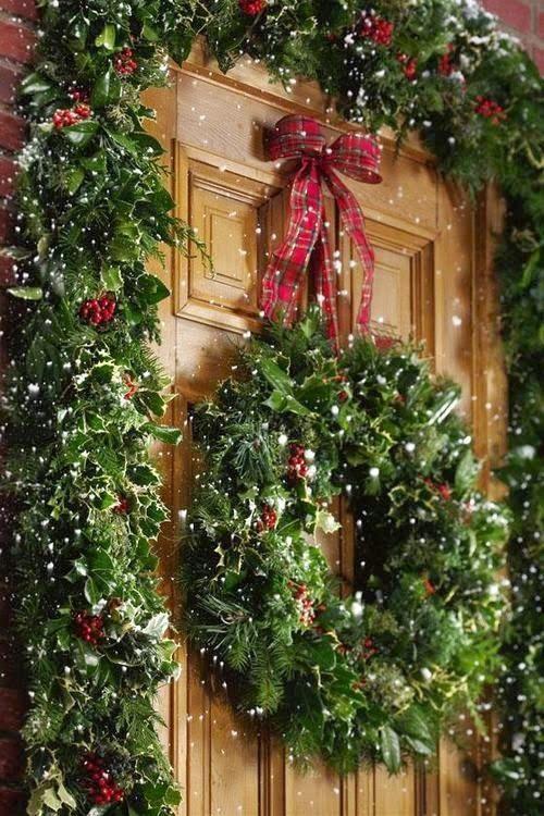 Holly wreath garland christmas decor pinterest Beautiful christmas wreaths