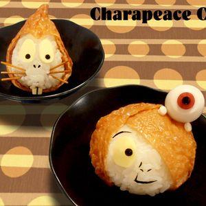 鬼太郎とねずみ男のおにぎり by yama*sunさん | レシピブログ - 料理ブログのレシピ満載!  前回のサンジおにぎりと材料は一緒です 塩おにぎり、油揚げ、スライスチーズ、焼きのり。目玉おやじは、うずらの卵、小梅、焼きのり。 ねずみ男のヒゲは焼いたスパゲッティ、鼻は黒ごま。 息子Tattonは時...