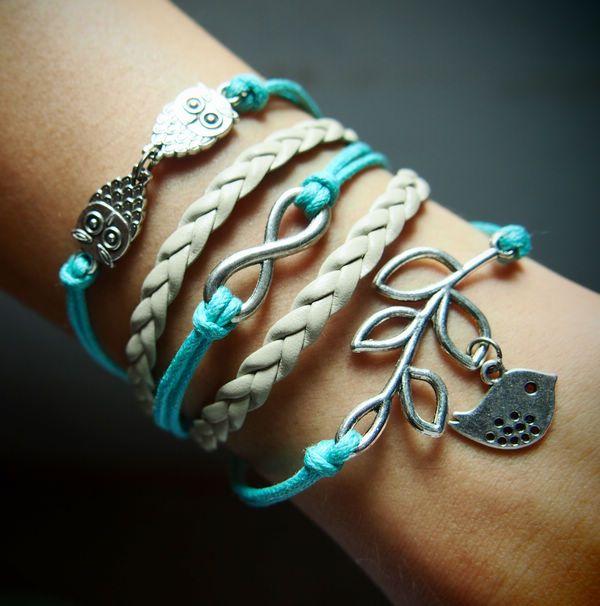 Handmade bracelet, owls, infinity & branch with silver bird charm bracelet, Mint Green Wax Cord with Grey braided leather bracelet, Bracelet for wholesale | Handmade Bracelet, DIY Bracelets, Handmade Men Bracelets