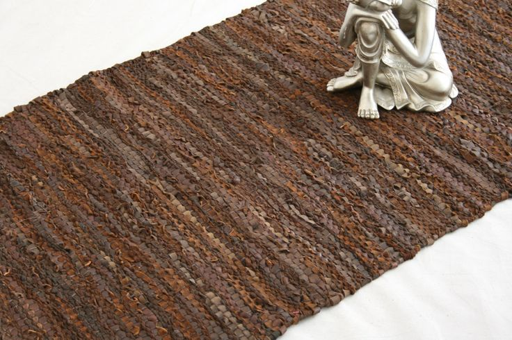 Homescapes Leather Runner Denver Brown 66x200cm. Recycled ...