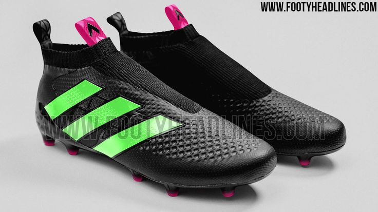 The second colorway of the laceless Adidas Ace 16+ PureControl football boots features a clean, black upper, accentuated with striking Solar Green and Solar Pink.