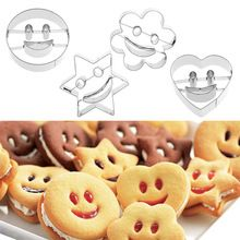 1Set(4Pcs) New Cute Stainless Steel Smiling Face Emoji Biscuit Cookie Cutter Cake Decorating Mold DIY Baking Mould Bakeware(China)