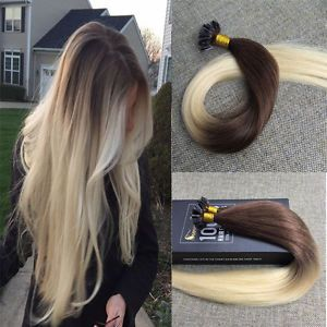 Pre Bonded Nail/U Tip Ombre Human Hair Extensions Blonde Keratin Hair