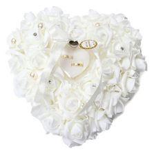 W 1 Unids Corazón-forma de Flores Color de Rosa del Día de San Valentín de Regalo Anillo de La Joyería Caja Del Anillo de Boda Portador Almohada Cojín titular Sin Anillo(China (Mainland))