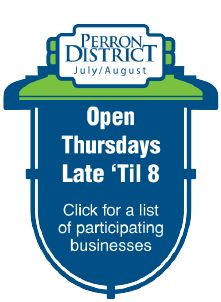 """Participating businesses are open late for your shopping convenience. Click to find out what businesses are taking part in """"Open Thursdays late 'til 8"""""""