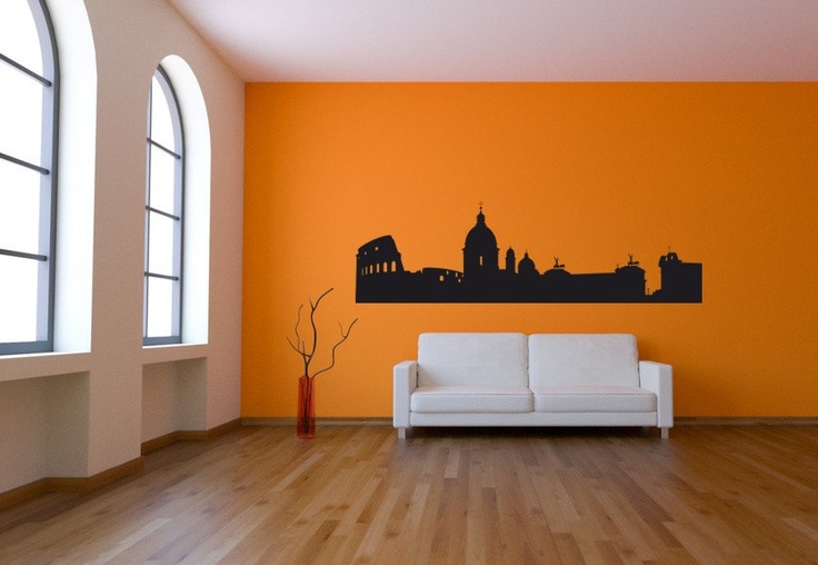 Wall decal rome skyline cityscape landmark italy country for Wall stickers roma