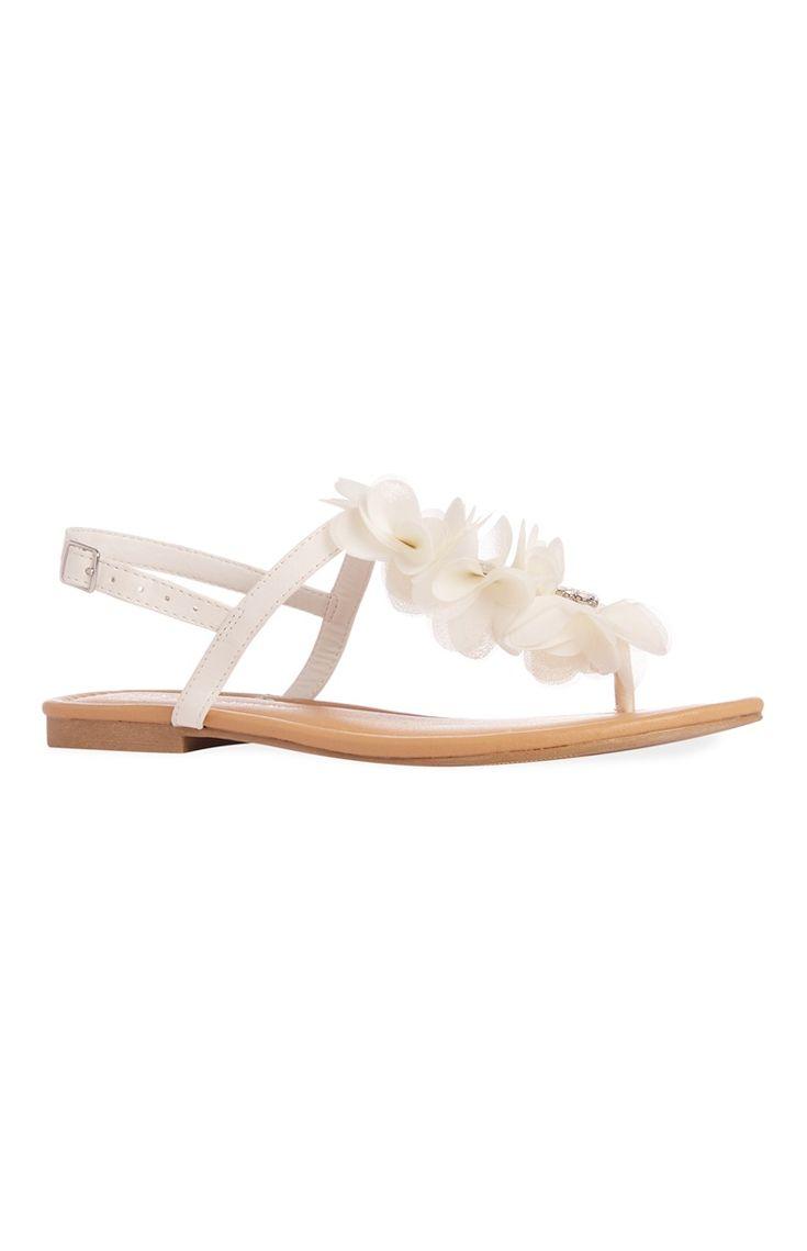 Primark - Sandales blanches ornées de fleurs