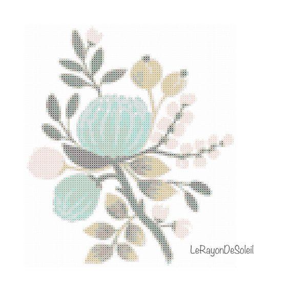 Wild blue pink flowers cross stitch pattern - frame decor - tablecloth napkins tea towel motif.