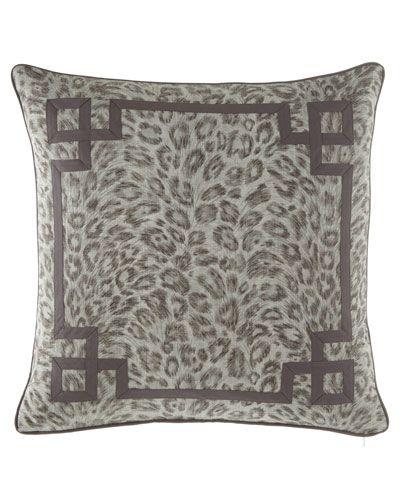 Bally Leopard-Print w/ Fretwork Decorative Pillow