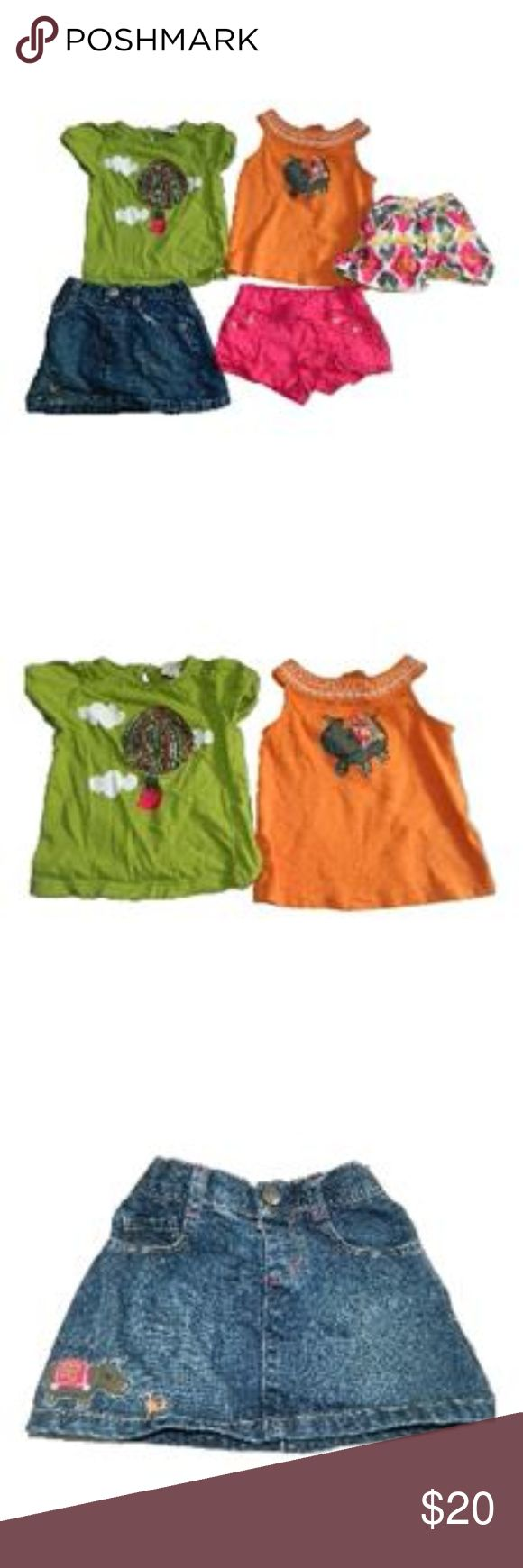 Gymboree Batik Summer 5-pc Bundle sz 2T Hippos Up for your consideration is a lot of (5) Gymboree Batik Summer items in good to very good condition (wash wear) sz 2T.  Lot includes:  - Orange sleeveless shirt with hippo on the front (wash wear/pilling) -Green hippo in a hot air balloon shirt (wash wear) -Multi-color adjustable waist shorts- (wash wear) -Pink pull on shorts with rhinestone details...elastic band on the back- (wash wear) -Denim pull on skirt with a hippo on it Gymboree…