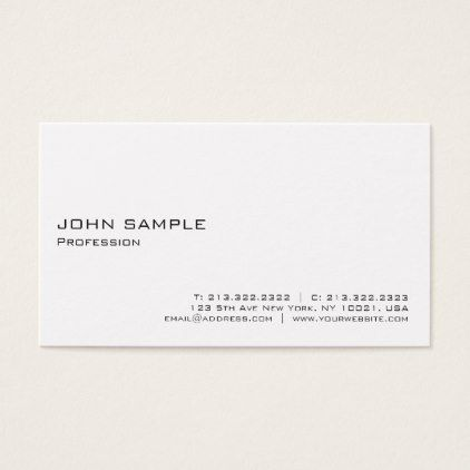 Modern Elegant White Professional Minimalistic Business Card - fitness businesscards personal trainer instructor business cards card